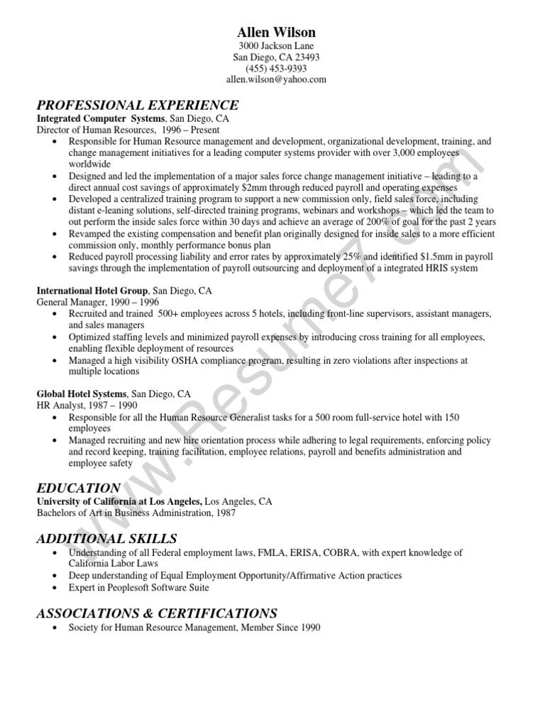 hr director resume sample  human resource management