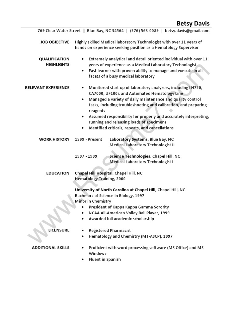 Laboratory Technician Resume Sample  Medical Technician Resume