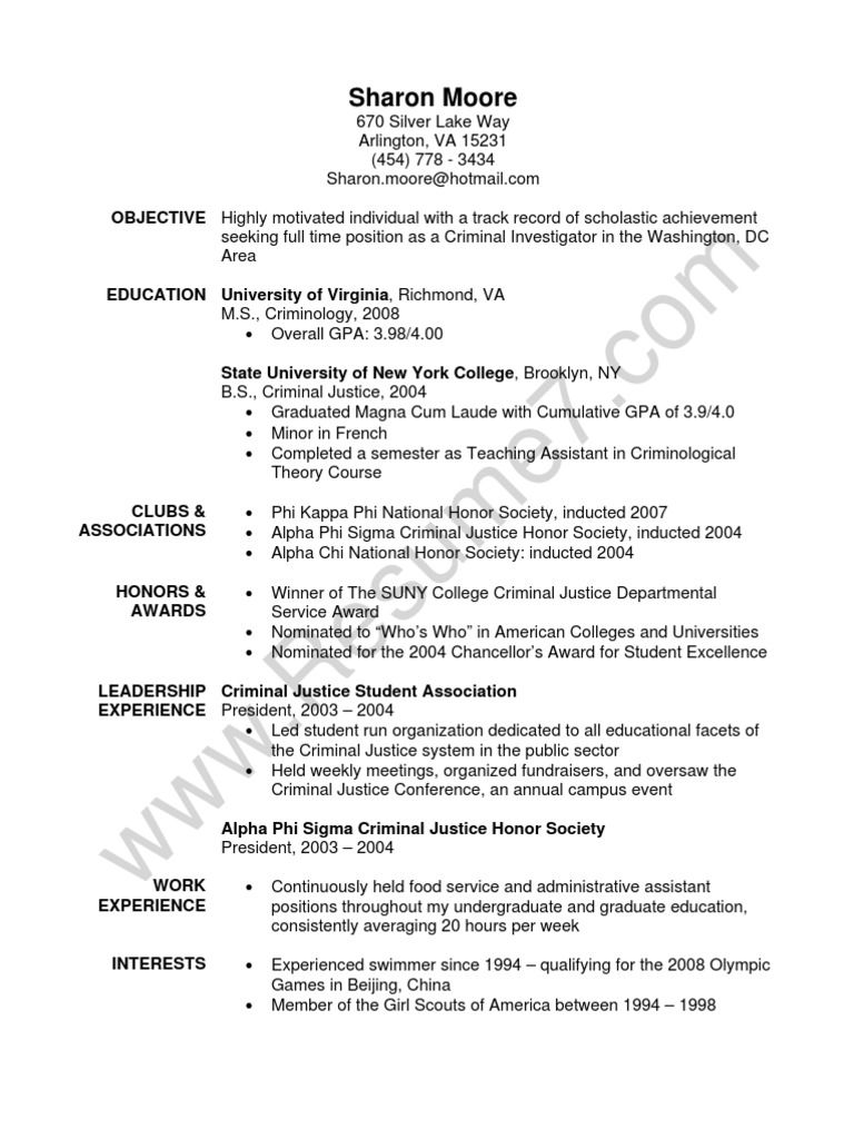 criminial justice resume sample