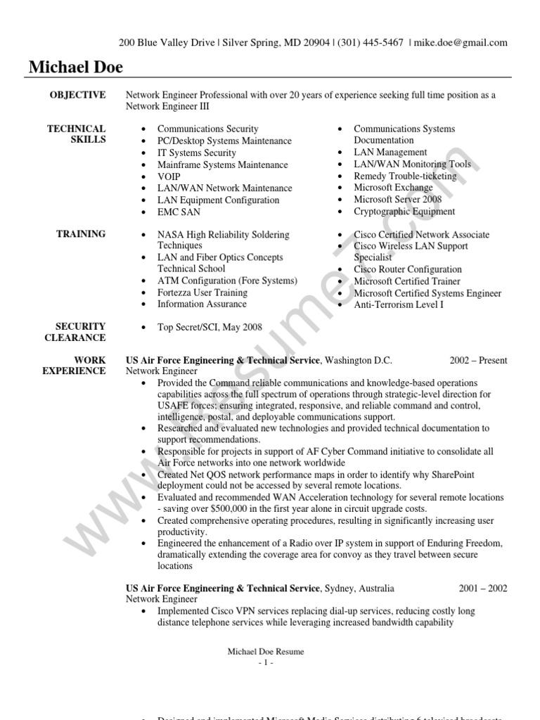 network engineer resume sample