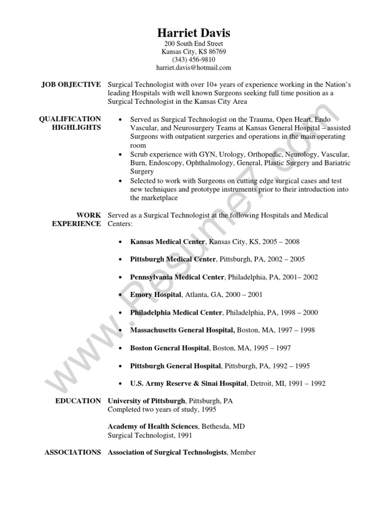 surgical technologist resume sample surgery hospital