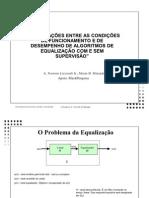 Apresentação sobre condições de funcionamento de Algoritmos de Equalização em Processamento Digital de Sinais