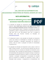 Nota Informativa Indicação da Componente Lectiva (2ª Disponibilização) e Necessidades Transitórias (Pedido de Horários); 2011.ago.12