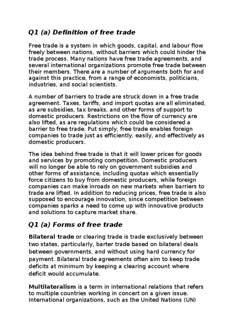 Macroeconomics Assignment Free Trade Money
