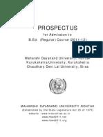 Prospectus B.ed. (Regular) Course 2011-12