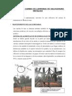 Informe de Cambio de Lamparas de Halogenuro Metalico