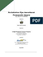 Lehigh Reclamation Plan Amendment