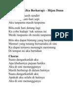 Lirik Suara KU BERHAAP