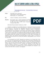 Carta a Rep. John Culberson de Covisal con Copia de Carta a Jta. Directiva SIPC Agosto 14, 2.011