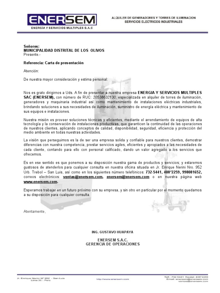 carta de presentacion de empresa - Gidiye.redformapolitica.co