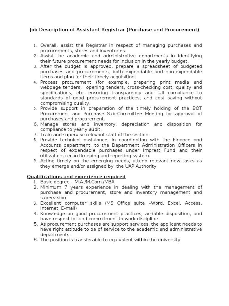 Job Description Procurement Records Management