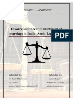 Divorce and threat to institution of marriage in India