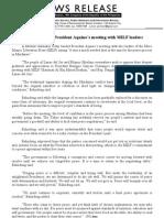 NR # 2494B AUGUST 13, 2011 Lawmaker lauds President Aquino's meeting with MILF leaders