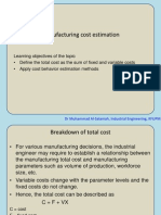 Manufacturing Cost Estimation
