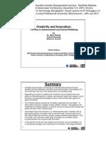 Creativity and Innovation KeyNote Address