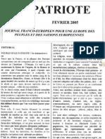 Le Patriote Journal.nº1. Fevrier-Mars 2005. Version définitive Imp Rim Able.