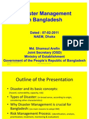Disaster Management in Bangladesh Presentation | Emergency