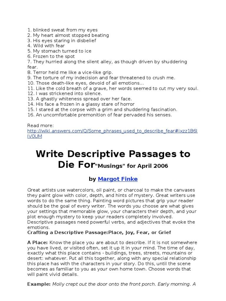 Descriptive essay about fear
