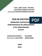 Rezumat_teza--ABORDAREA CONTRASTIVĂ A SUBSTANTIVULUI ÎN LIMBA ROMÂNĂ ŞI ÎN LIMBA ENGLEZĂ