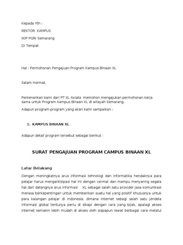 Contoh Surat Pengajuan Kampus Binaan Xl