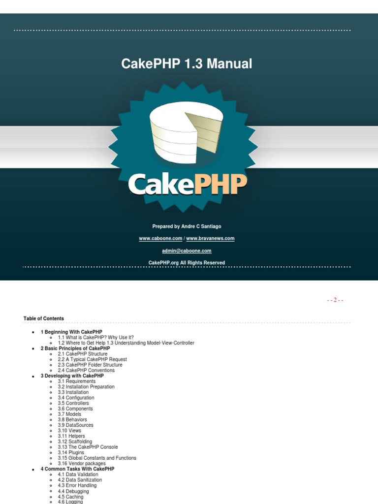 Manual CakePHP 1-3 | Model–View–Controller | Databases