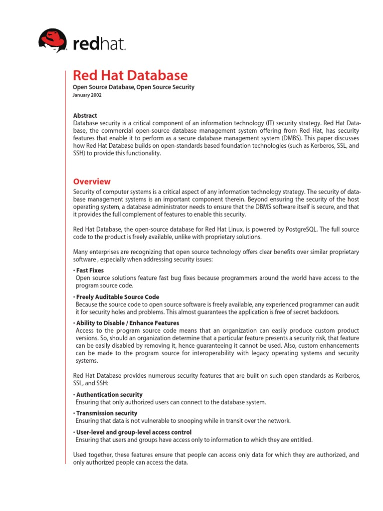 Redhat Linux Important Stuff 97 Transport Layer Security Database Level Databases