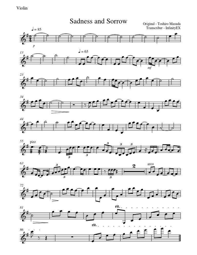 Naruto - Sadness and Sorrow Violin