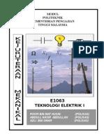 Teknologi Elektrik 1 E1063 -Unit Introduction