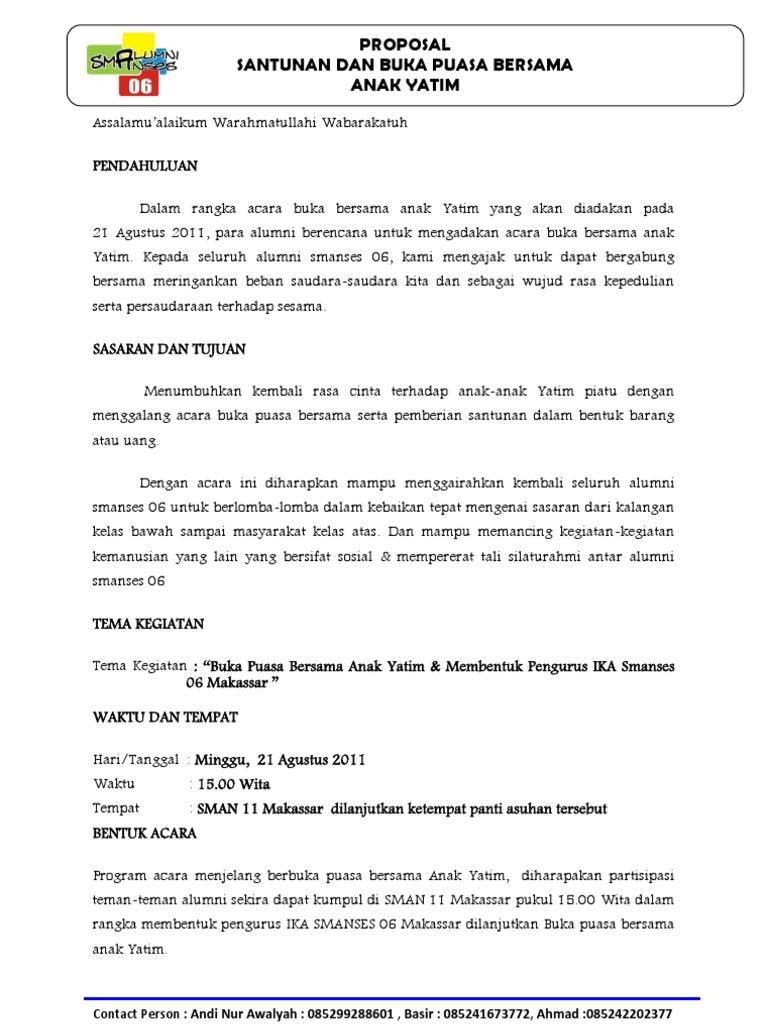 Proposal Buka Puasa Bersama Alumni Smanses 06 Makassaar