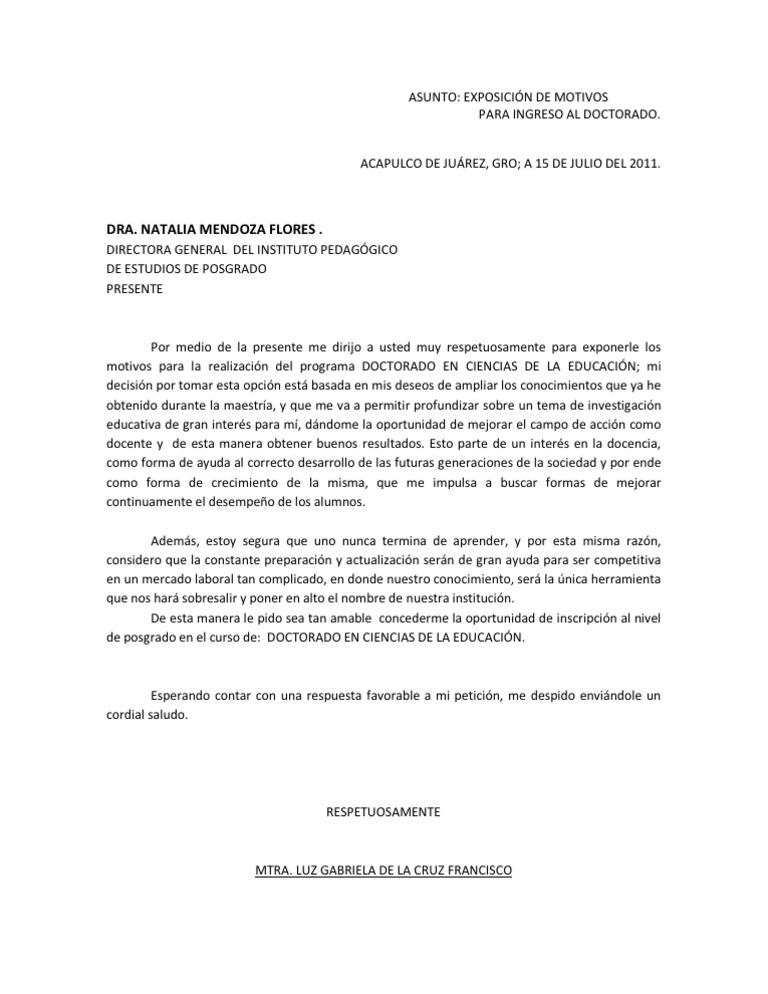 carta de motivos para diplomado