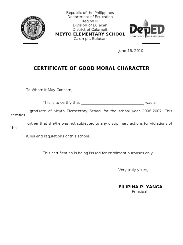 Certificate of good moral character sample doc choice image good moral character personal character reference template yadclub Images