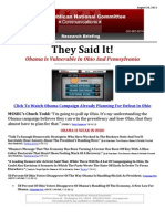 They Said It! Obama Is Vulnerable In Ohio And Pennsylvania
