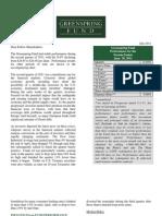 Semi-Annual 2011 GRSPX Letter