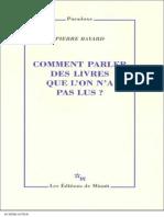 Comment Parler Des Livres Que l'on n'a p - Pierre Bayard