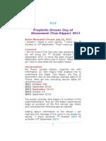 P-14 Prophetic Dream - Day of Atonement 2013