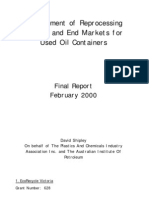 Dev of Reprocessing Options and End Markets for Used Oil