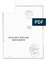 Pull Out Test for rock bolts