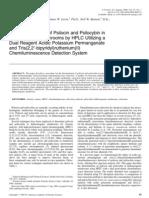 The Determination of Psilocin and Psilocybin in Hallucinogenic Mushrooms by HPLC Utilizing a Dual Reagent Acidic Potassium Permanganate and II Chemiluminescence Detection System
