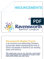 Ravensworth Baptist Church Announcements, August 14, 2011