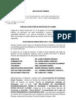 CIRCULA BOLETÍN DE NOTICIAS Nº 8-(28)- MARTES 9-VII-2011I
