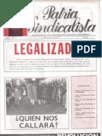 Patria Sindicalista (FE de las JONS Auténtica) nº 1 - 10 de Marzo de 1977