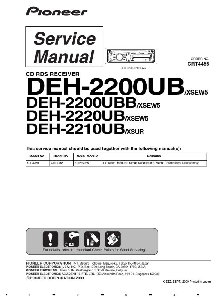 pioneer deh 2200ub deh 2220ub deh 2210ub laser electrical connector rh es scribd com