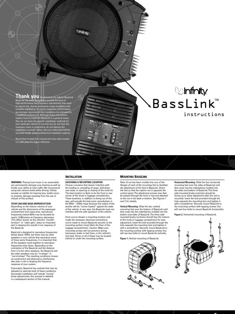 infinity basslink manual trunk car loudspeaker rh scribd com infinity basslink 200-watt manual infinity basslink 200-watt manual