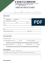 2011 Kozak Bar Venue Hire Booking Form