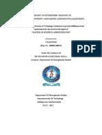 A Report on Internship Training