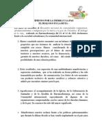 Declaración Final MANIFIESTO POR LA TIERRA Y LA PAZ El Dialogo es la ruta!