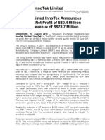 SGX-Listed InnoTek Announces Q2'11 Net Profit of S$0.4 Million on Revenue of S$78.7 Million