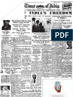 Times of India 15 August 1947 Newspaper