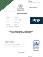 WARRANT TO ARREST MR MUSTAFA AMINE BADREDDINE INCLUDING TRANSFER AND DETENTION ORDER
