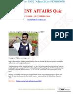 CURRENT AFFAIRS Quiz OCTOBER – NOVEMBER 2010